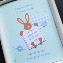 Adoption message bunny blue