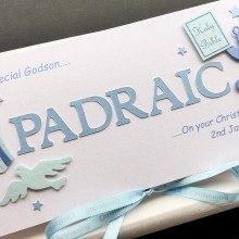 Christening cut out name for boys with teddy