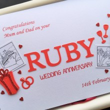 Anniversary cut out words ruby with cruise theme