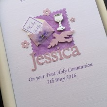Communion bible in envelope with name purple