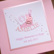 Keepsake box baby memorial footprints & teddy label & name