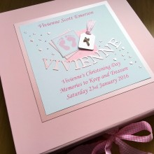 Keepsake box christening pink footprints name & label with diamante cross