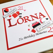 Keepsake box womens name with tag messages & birthday decorations