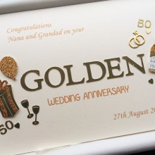 Anniversary cut out words golden