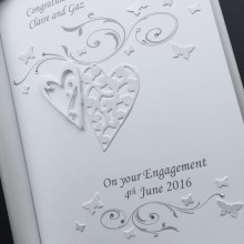 Engagement lace hearts & scrolls white