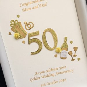Anniversary cut out number gold with flowers