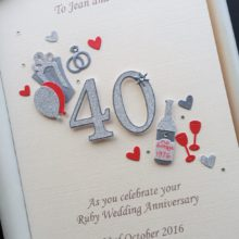 Anniversary cut out number ruby