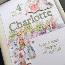 Childrens A5 name with Beatrix Potter green