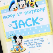 Childrens A5 name with baby Mickey for boys on white