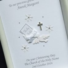 Christening bible in envelope white with snowflakes