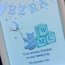 Christening bunting with teddy and initial blocks