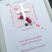 Christening cross and flowers