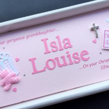Christening cut out name for girls with crucifix & teddy with two names