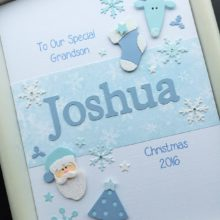 Christmas name blue on white