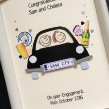 Engagement couple in car with custom embellishments 2