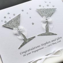 Engagement glitter glasses same sex couple