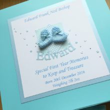 Keepsake box baby boy knitted bootees and name