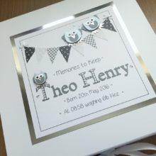 Keepsake box baby boy owls and bunting grey