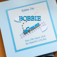 Keepsake box baby boy small train & bright name