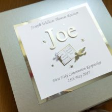 Keepsake box communion boys name with open bible