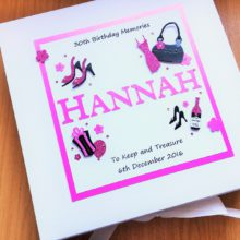 Keepsake box womens name with birthday decorations pink