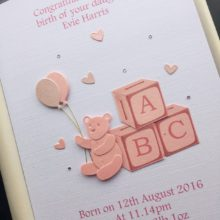 New baby ABC blocks and teddy pink