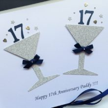 Anniversary glitter glasses golden with bespoke number