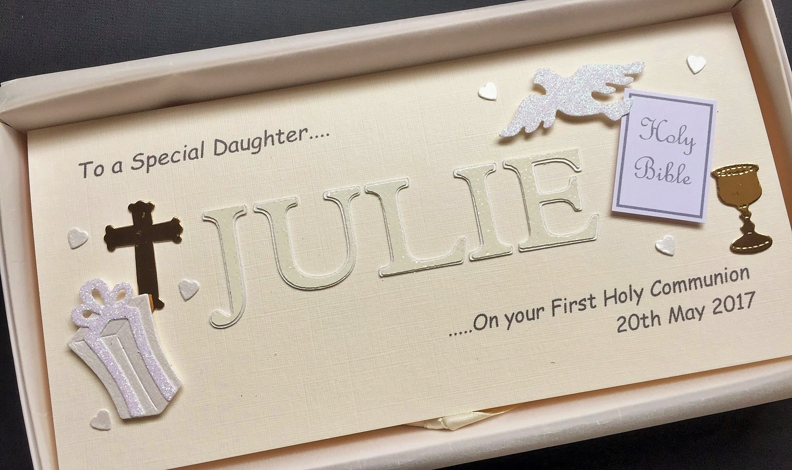 Communion Name Card For Girls Ivory