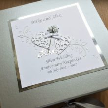 Keepsake box anniversary flowers and lace hearts