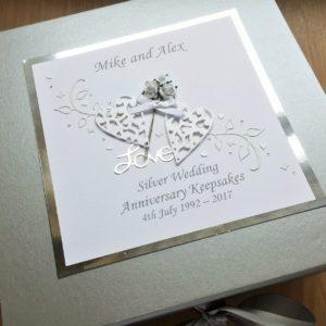 Keepsake box anniversary flowers and lace hearts