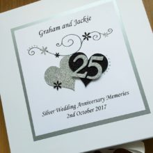 Keepsake box anniversary scrolls hearts & number