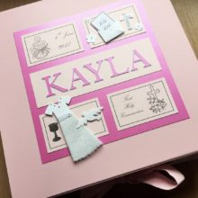 Keepsake box communion girls frames with dress & name bright pink