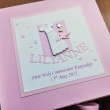 Keepsake box communion girls long dress & pink name