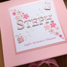 Keepsake box womens name with daisies & butterflies pink