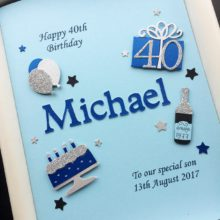 Mens A5 name and birthday decorations blue