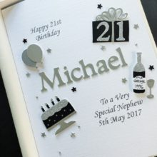 Mens A5 name and birthday decorations silver