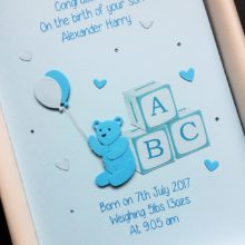 New baby ABC blocks and teddy