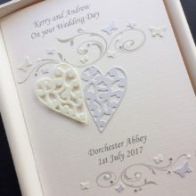 Wedding lace hearts and scrolls ivory