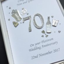 Anniversary cut out number platinum