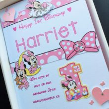 Childrens A5 name with baby Minnie