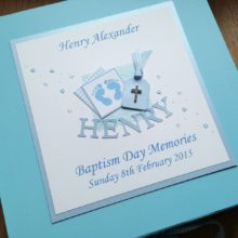 Keepsake box Baptism blue footprints name & label with diamante cross