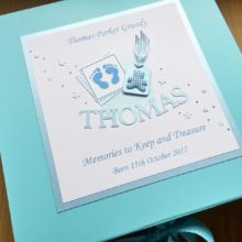 Keepsake box baby boy footprints long name & label with teddy