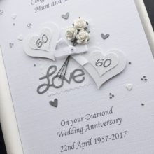 Anniversary flowers & double layered hearts white