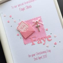 Christening bible in envelope pink with name