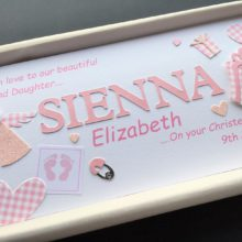 Christening cut out name for girls with angel & printed 2nd name
