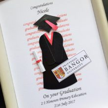 Graduation gown and mortar with University logo example Bangor