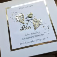 Keepsake box anniversary flowers and lace hearts silver on white