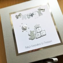 Keepsake box baby ABC blocks & washing line