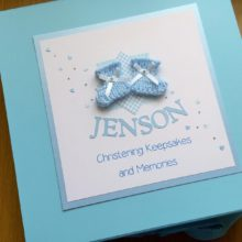 Keepsake box christening blue knitted bootees