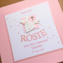 Keepsake box communion girls short dress & pink name